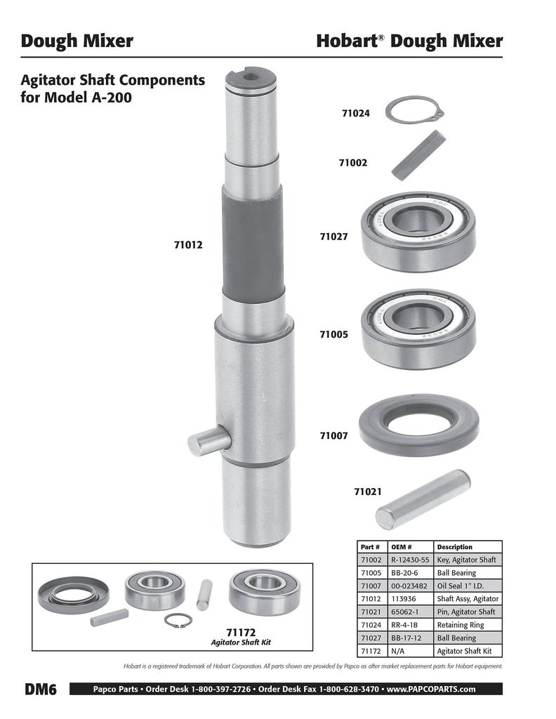 DM6 - Hobart Agitator Shaft Components, Model A-200