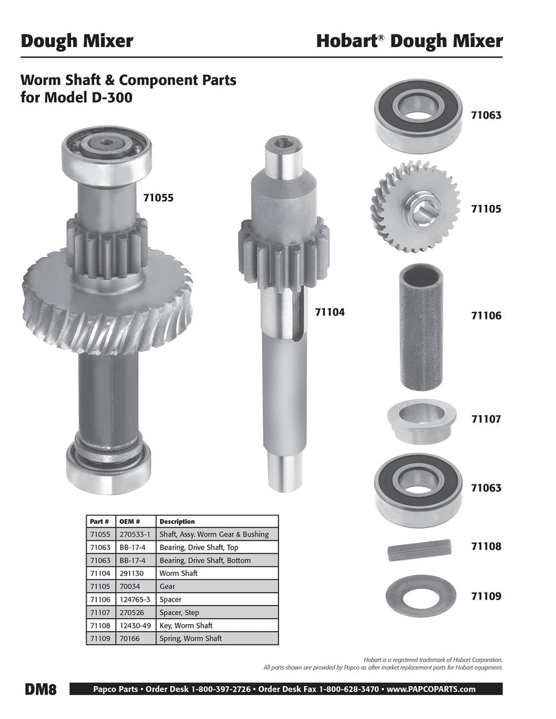 DM8 - Hobart Worm Shaft & Component Parts, Model D-300