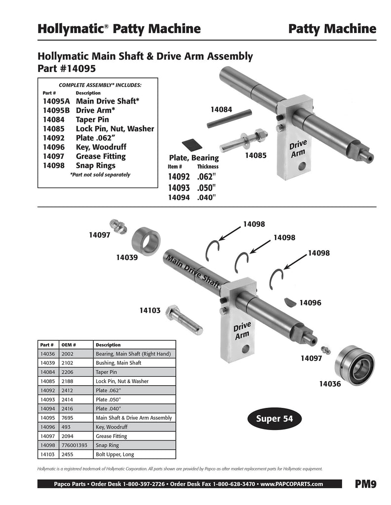 PM9 -  Hollymatic Main Shaft & Drive Arm Assembly