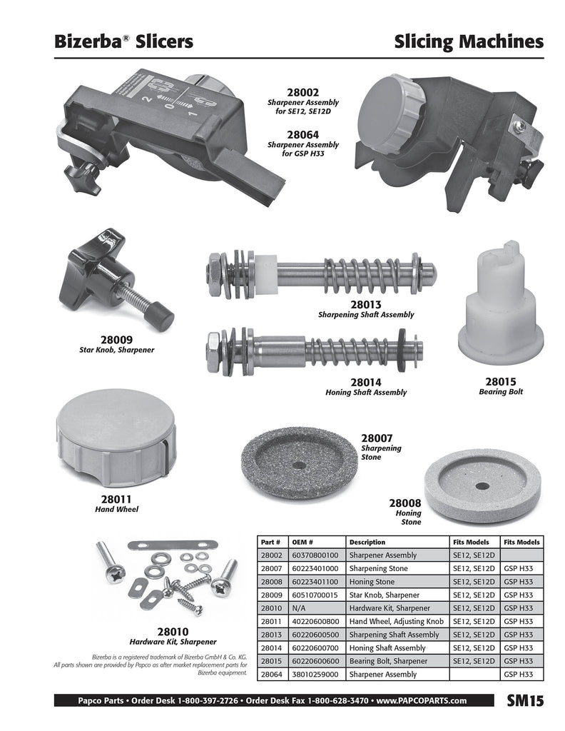 SM15 - Bizerba Sharpener Parts