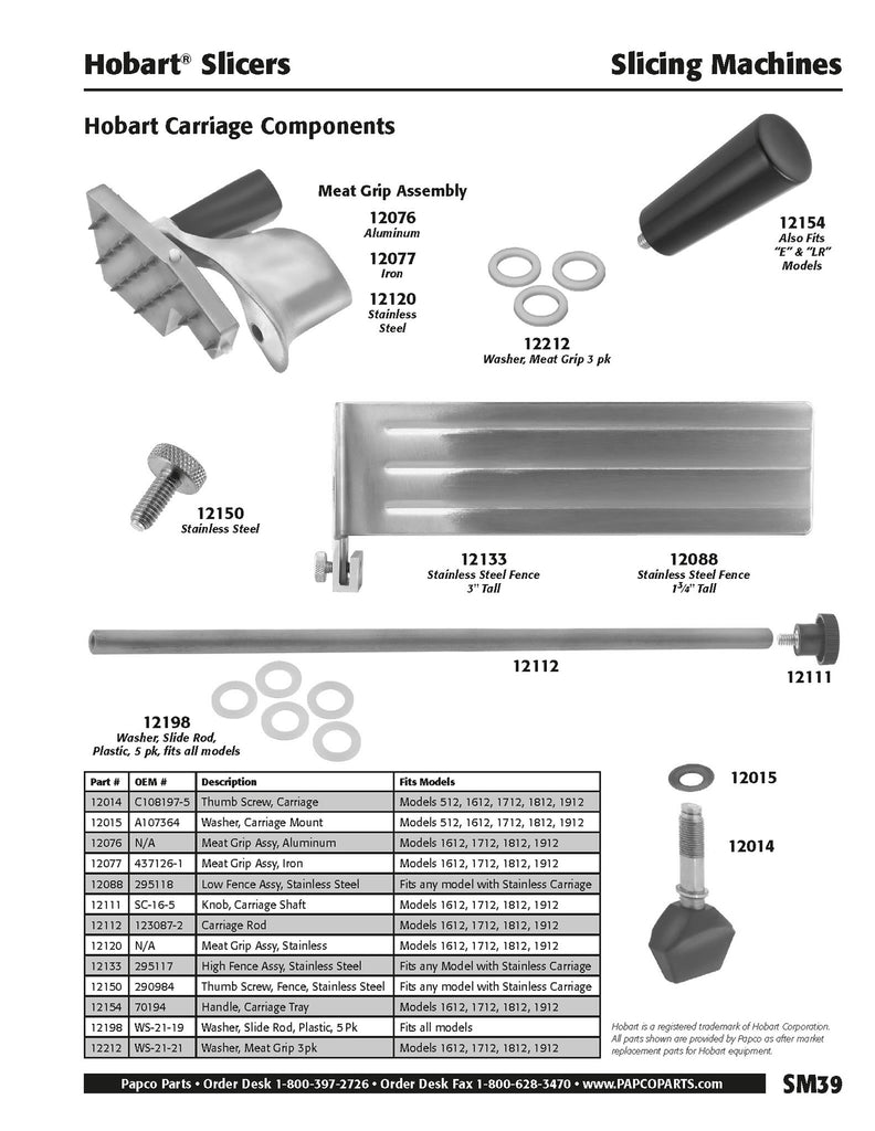 SM39 - Hobart Carriage Components