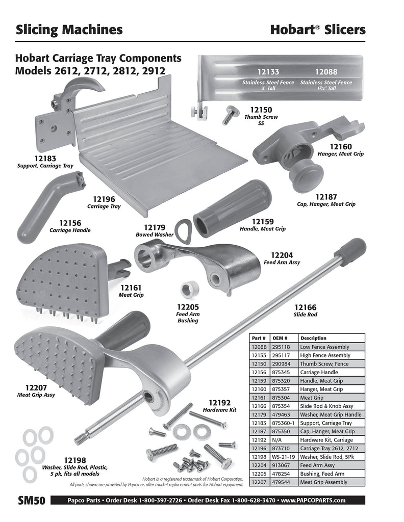 SM50 - Hobart Carriage Tray Components