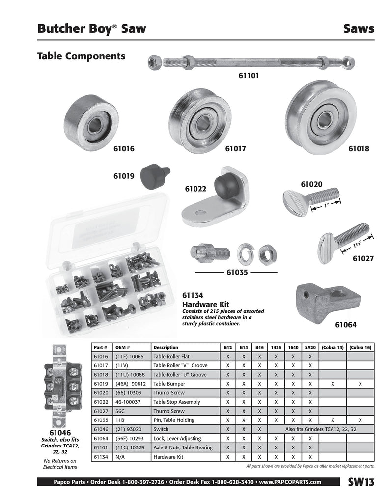 SW13 - Butcher Boy Table Components