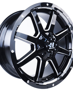 HUSSLA STEALTH 18X9 6X139.7 30 GLOSS BLACK MILLED SPOKES
