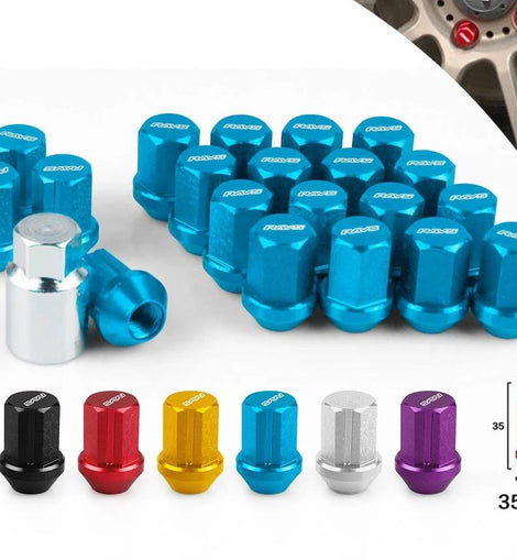 Performace Alloy Aluminum Wheel Lock Nuts Racing Lug Nuts Length 35MM 12x1.5/1.25