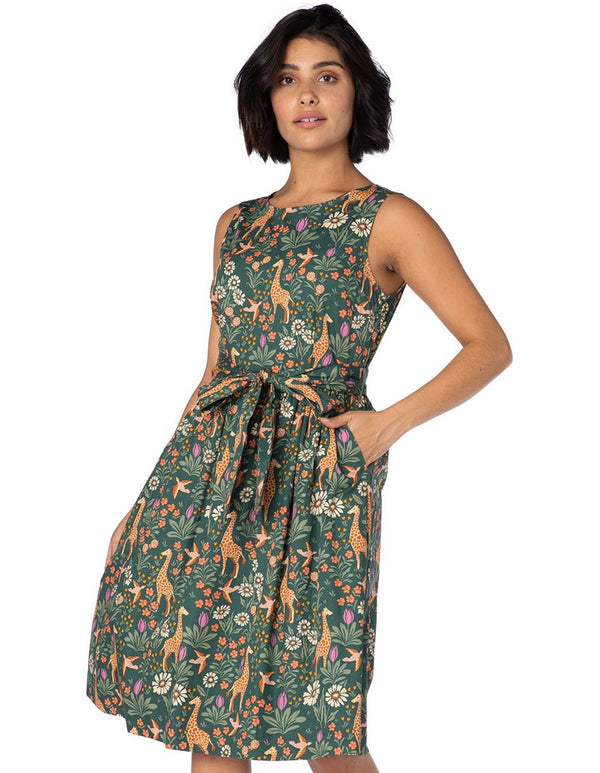 Princess Highway Giraffe & Flower Dress - Green