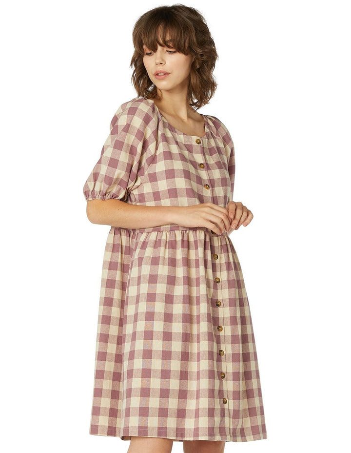 Princess Highway Isabelle Dress - Grape/Cream