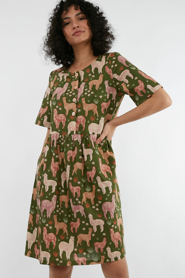 Princess Highway Bella Llama Dress - Green