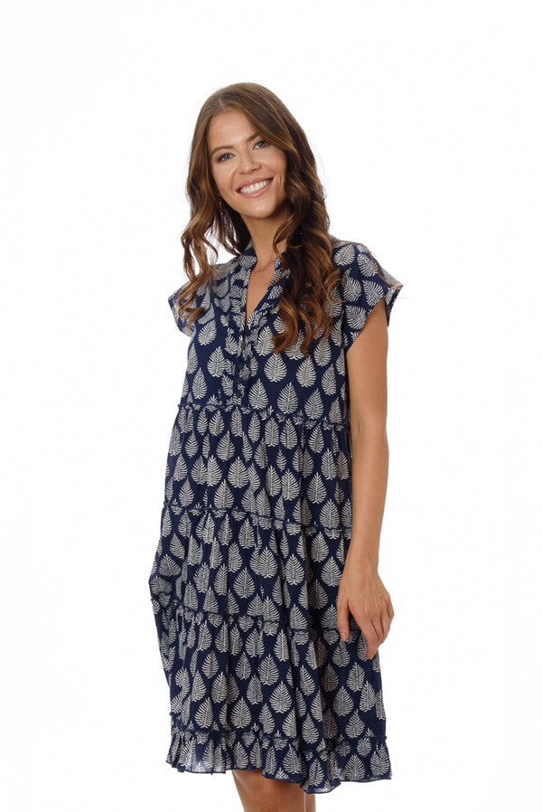 Amore Dress - Navy Palm Leaf