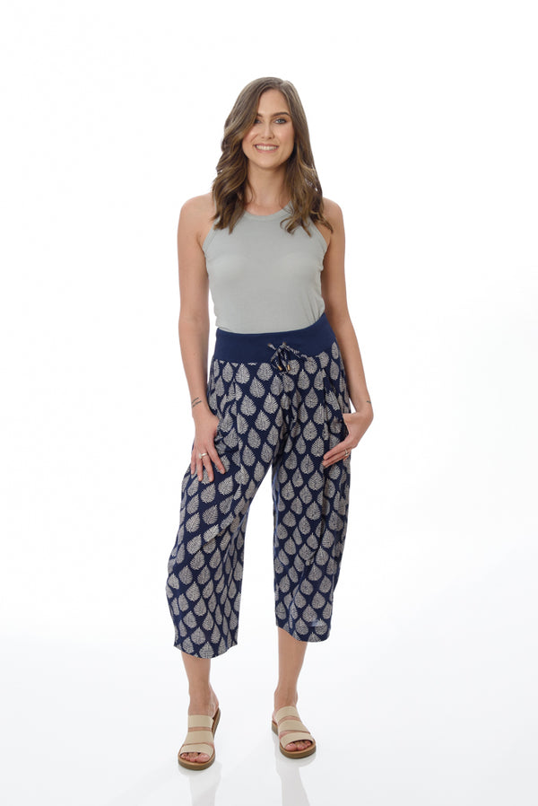 Yoga Pants - Navy Palm Leaf