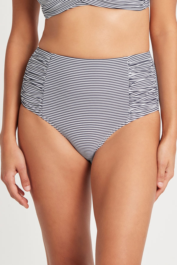 Positano Stripe High Waist Gathered Side Pant