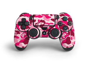 PS4 Controller Pink Game Camo Skin Decal Kit