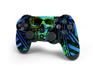 PS4 Controller Blue Cyber Skull Decal Kit