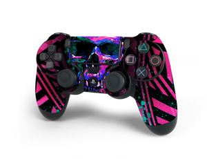PS4 Controller Pink Cyber Skull Decal Kit