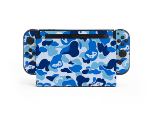 Nintendo Switch Blue Game Camo Skin Decal Kit