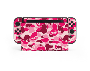 Nintendo Switch Pink Game Camo Skin Decal Kit