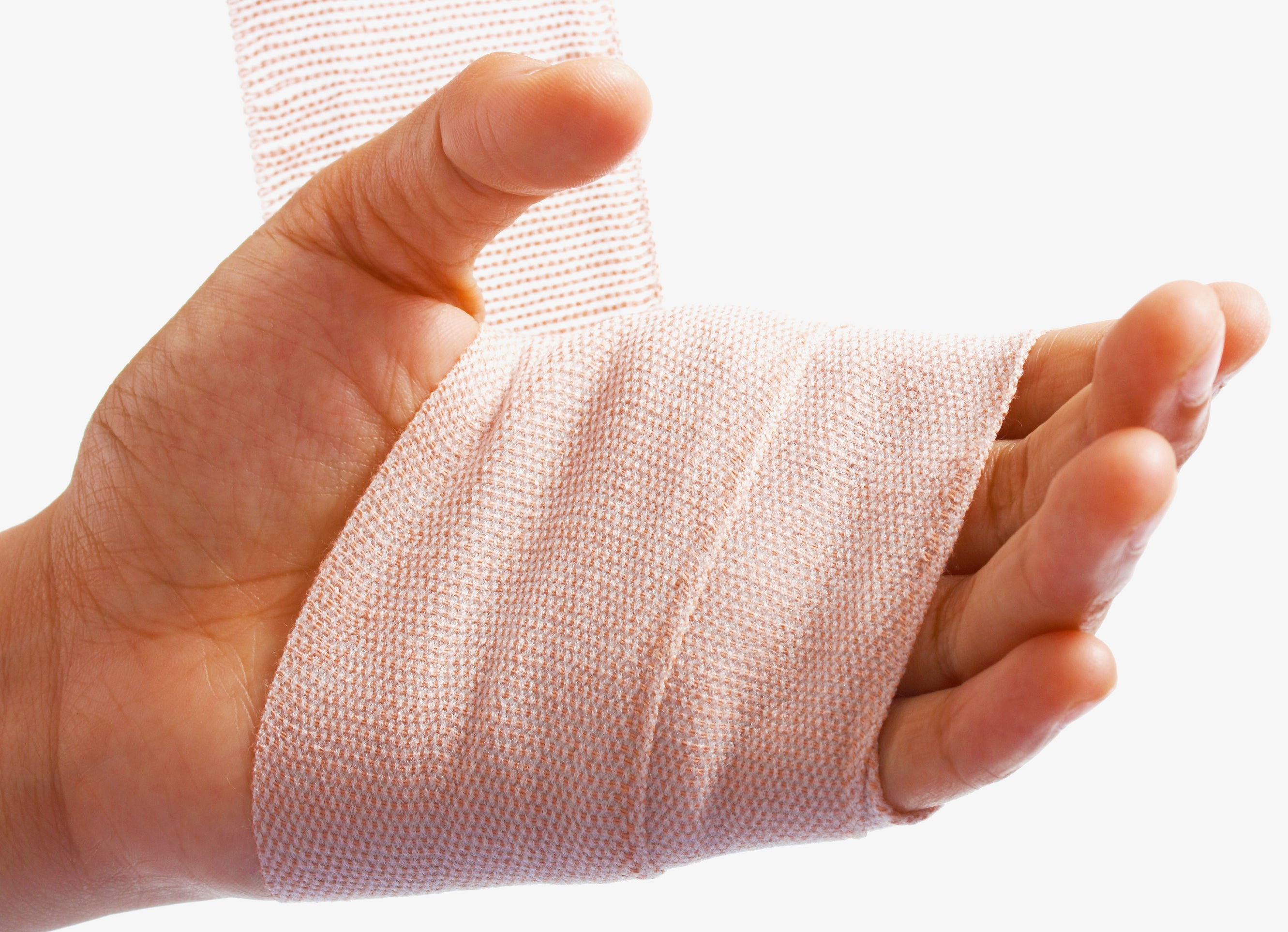 sprained hand with a bandage