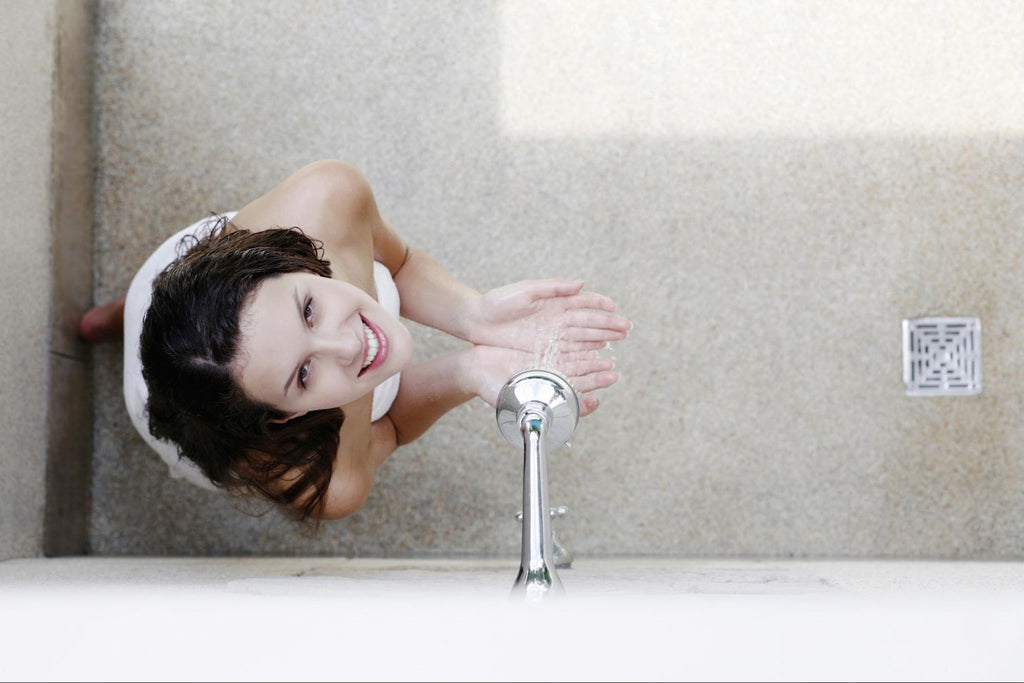 top view of a woman taking a shower