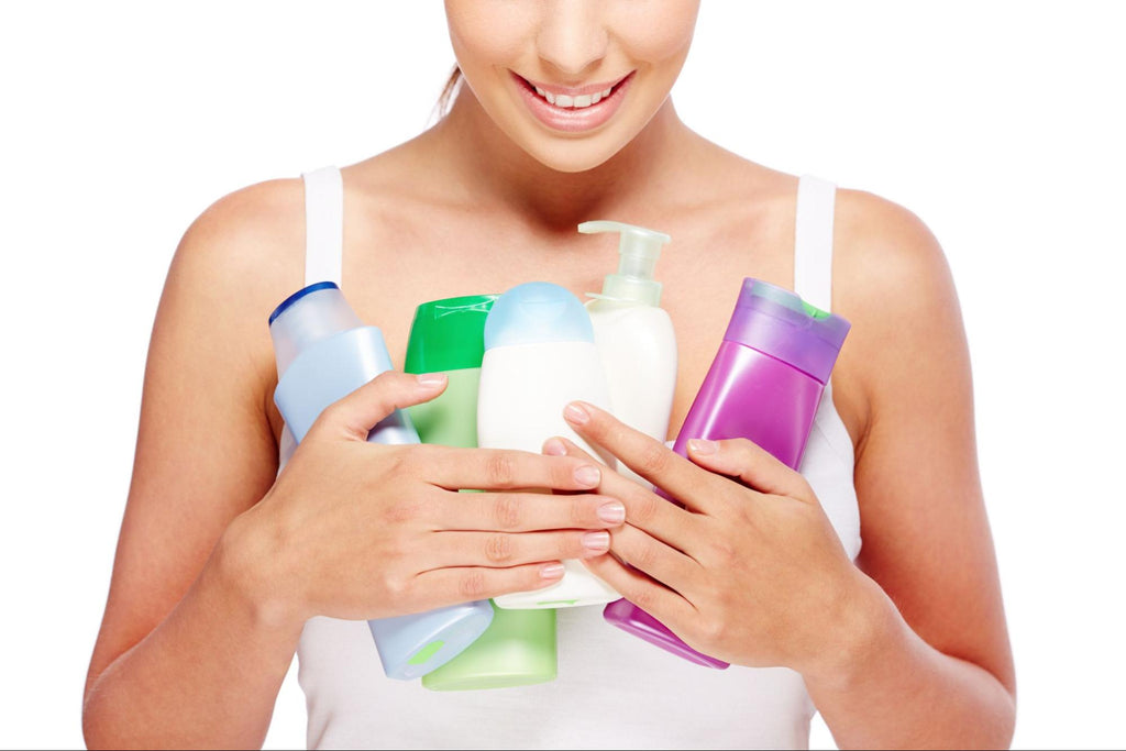 woman holding beauty products