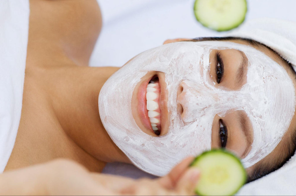 woman with DIY face mask