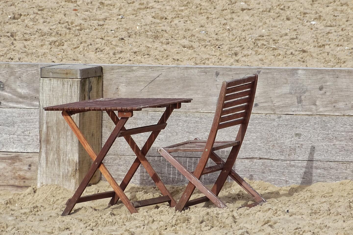 Portable wooden folding table and chair