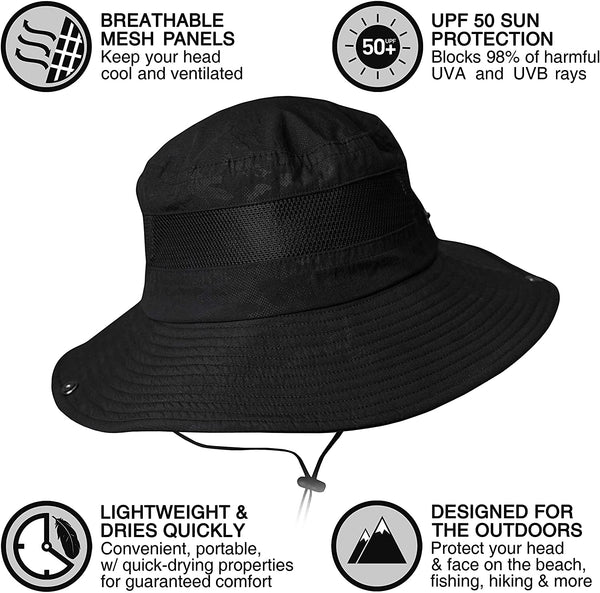 Discoverer Series GearTOP Fishing Hat Outdoor Sun Protection Hats for Men /& Women Boonie Hat