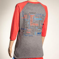 Word Cloud Ladies Baseball Tee