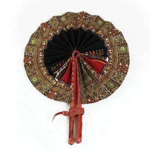 High-Quality Black Traditional Print Leather Folding Fan - Alagema Fabrics & Accessories