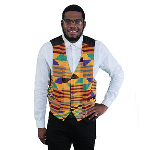 Traditional Print Vest: Black - Alagema Fabrics & Accessories