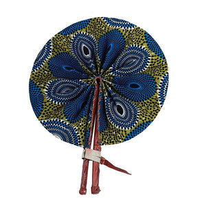 High-Quality Blue / Olive Circle Print Folding Fan - Alagema Fabrics & Accessories
