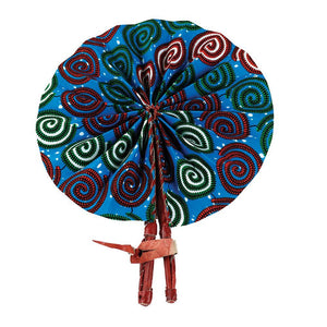 High-Quality Spiral African Print Leather Folding Fan - Alagema Fabrics & Accessories