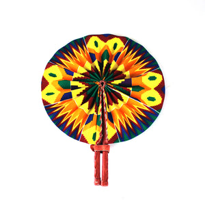 High-Quality Green / Orange / Yellow Kente African Print Leather Folding Fan - Alagema Fabrics & Accessories