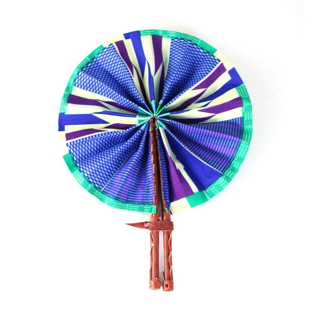 High-Quality Blue / Purple / Green Kente African Print Leather Folding Fan - Alagema Fabrics & Accessories