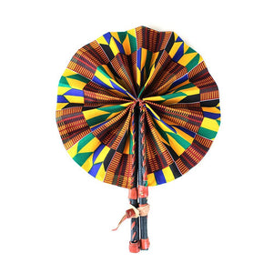 High-Quality Traditional Orange Kente African Print Leather Folding Fan - Alagema Fabrics & Accessories