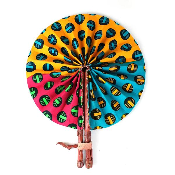 High-Quality African Print Dot Pattern Leather Folding Fan - Alagema Fabrics & Accessories