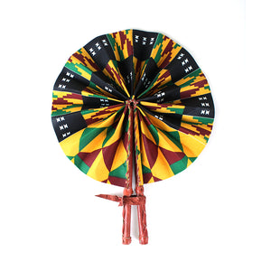 High-Quality Orange / Black Kente African Print Leather Hand Fan - Alagema Fabrics & Accessories