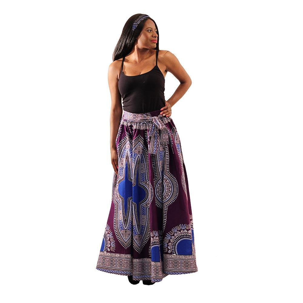 Plum Print Maxi Skirt - Alagema Fabrics & Accessories
