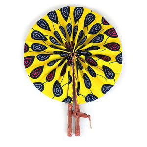 High-Quality Yellow Peacock Print Leather Folding Fan - Alagema Fabrics & Accessories