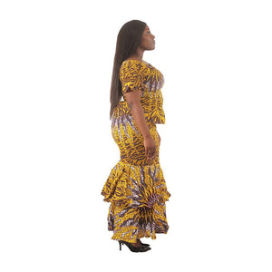 Yellow Sun 2-Piece Elastic Skirt Set - Alagema Fabrics & Accessories