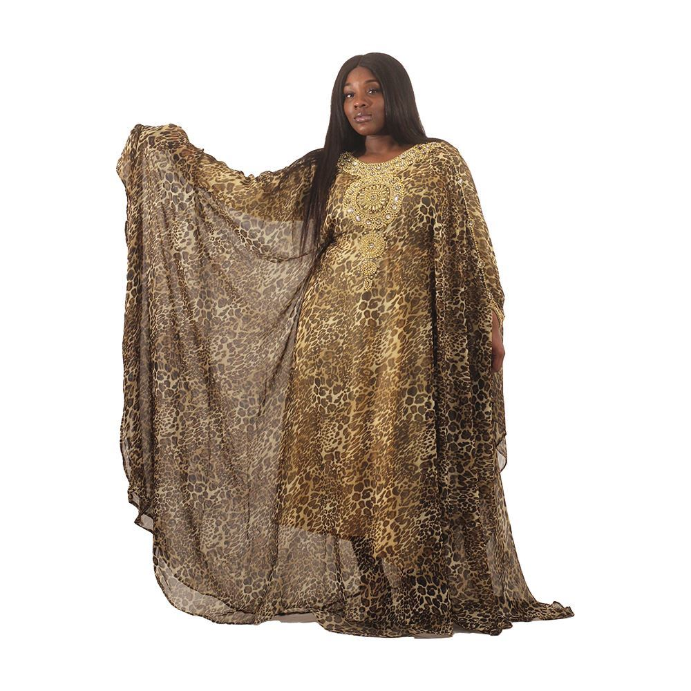 Beige Royal Goddess Leopard Print Gown - Alagema Fabrics & Accessories