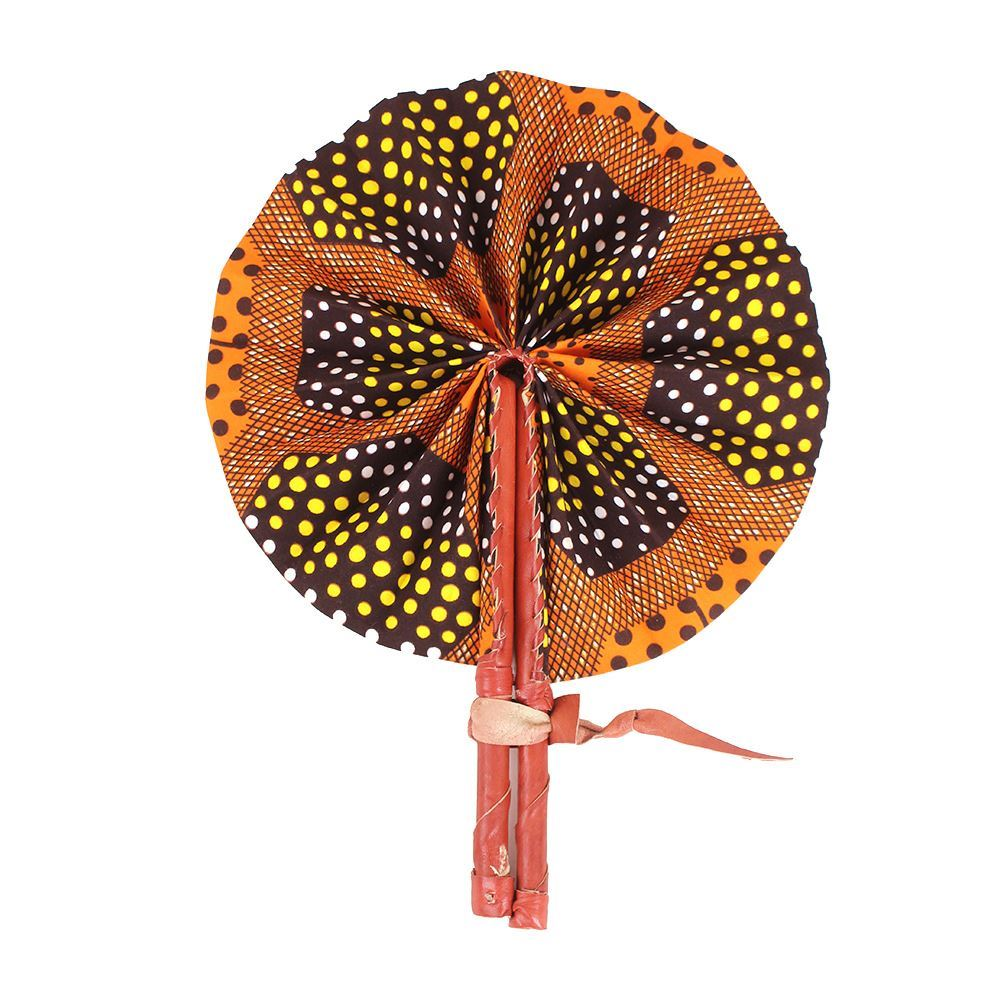 High-Quality Orange Geometric African Print Leather Folding Fan - Alagema Fabrics & Accessories