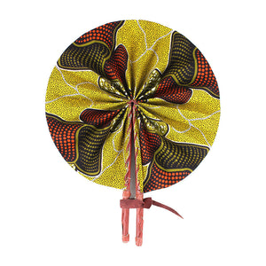 High-Quality Mustard African Print Leather Folding Fan - Alagema Fabrics & Accessories
