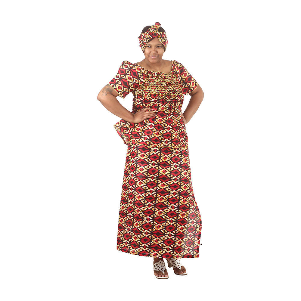 Red African Print Elastic Skirt Set - Alagema Fabrics & Accessories