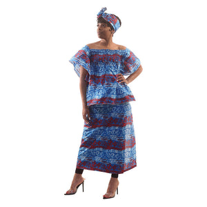 Blue African Print Elastic Skirt Set - Alagema Fabrics & Accessories