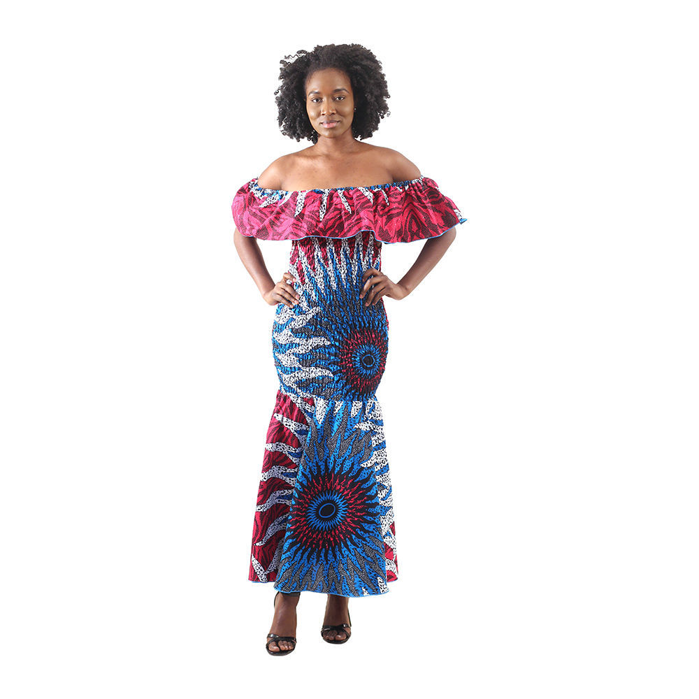 African-Made Blue/Pink Sun Elastic Dress - Alagema Fabrics & Accessories