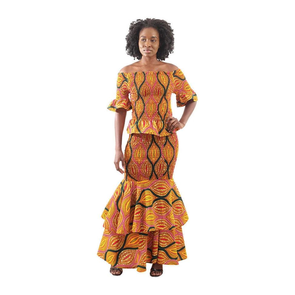 African Shell Print Elastic Skirt Set - Alagema Fabrics & Accessories