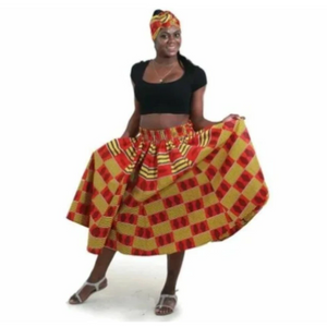 RED KENTE SKIRT - Alagema Fabrics & Accessories
