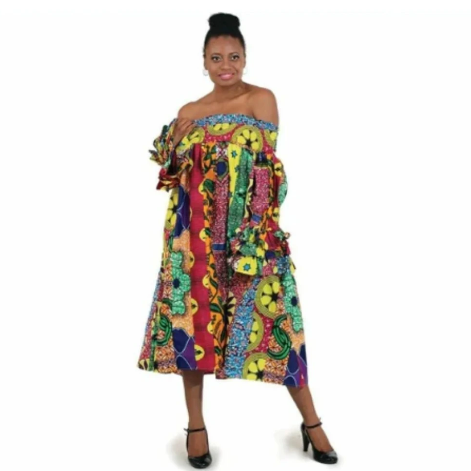 African Print Multi-strip Smocking Dress - Alagema Fabrics & Accessories