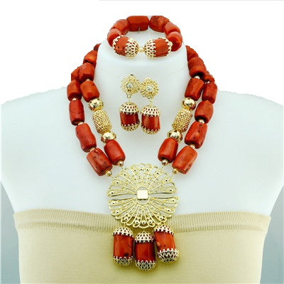 Women's High Quality Coral Jewelry Set #30 - Alagema Fabrics & Accessories