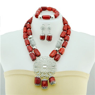 Women's High Quality Coral Jewelry Set #8 - Alagema Fabrics & Accessories